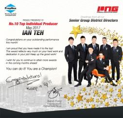 May 2017 - - No.10 Top Individual Producer - IAN TEH